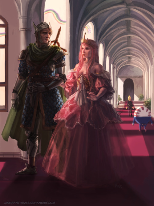 fanarttime:  Queen Bubblegum and Her Knight by *marianne-khalil