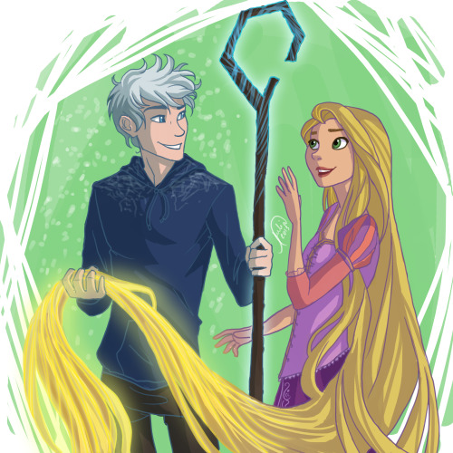 juliajm15:  Since I drew Merida and Hiccup, why not Jack and Rapunzel? *-*