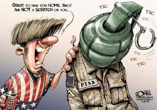 cartoonpolitics:  'Nearly 20 percent of the more than 2 million troops who have served in Iraq and Afghanistan suffer from mental health conditions' (ref)