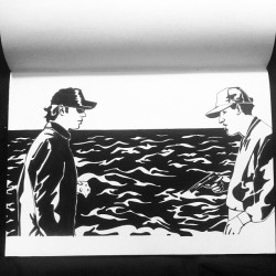 "New drawing finished. Shooting The Cheese with Jim Jarmusch and John Lurie from ""Fishing With John""."