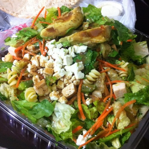margarethnatalie:  A California Chicken Salad from the California Chicken Cafe…. Two months of this and I'll fit in my dream outfit for my birthday… #healthy #greens #veggies #broccoli #pasta #fetacheese #hollywood #melrose #highland #wholewheat #pita #whitemeat #chicken #avocado #ughhhhhhh  Lunch… This cleanse is killing my spirits and my mental fatass.