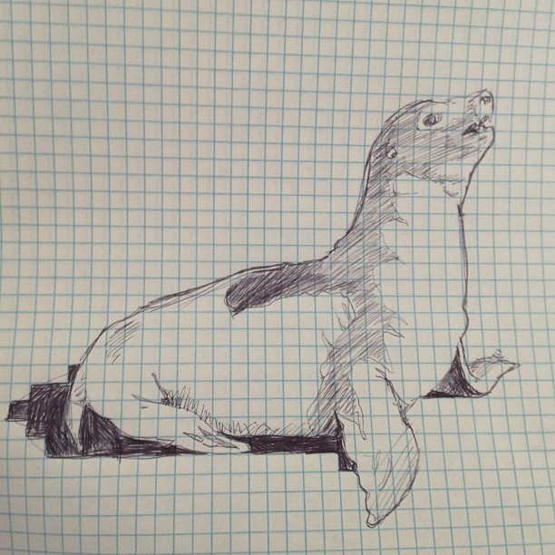 Seal sketch on sheets of free paper