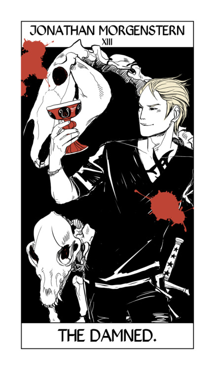 "So Cassandra Jean has finished the complete Shadowhunter Tarot, so for the next … seventy-something days I'll be posting a card a day (okay, maybe not every day — I tend to get distracted!)  in order, from the first card to the last. Some will be under spoiler cuts; some you'll have seen before — I'll explain why each character has the card they have.  Sebastian takes the Death card. Death is a card in the tarot that promises enormous change. It seems fitting for Sebastian, who is intent on bringing change to the Shadowhunter world, come hell or high water. I like that Cassandra Jean has incorporated both the dark Cup and the bones of a horse, considering the passage from Revelations: ""And I looked, and behold a pale horse: and his name that sat on him was Death, and Hell followed with him. And power was given unto them over the fourth part of the earth, to kill with sword, and with hunger, and with death, and with the beasts of the earth."""