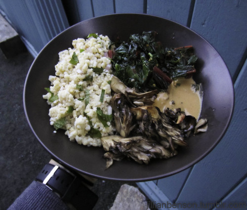 Roasted Maitake Mushrooms.  Sauteed Swiss Chard.  Millet with Mint and Pine Nuts. Lemon Garlic Tahini Sauce.