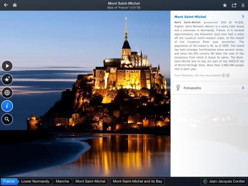 Fotopedia France - Photo of Mont Saint-Michel with Wikipedia description (iPad)