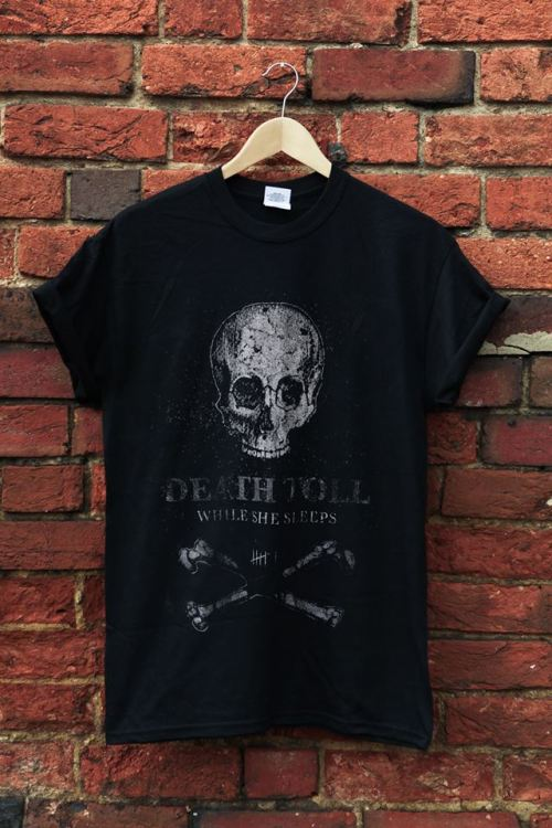 forced-d4rkness:  While She Sleeps- 'Death Toll' Shirt. http://merch.wssofficial.com/