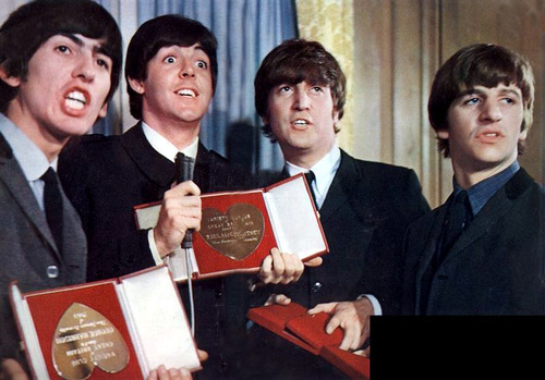 beatledirt:  captainharrison:  awkwardgeorge:  Aside from his face, I noticed that George is holding his award upside-down  It was a rough day  Pauls face will never not make me laugh like omg calm the fuck down you chipmunk