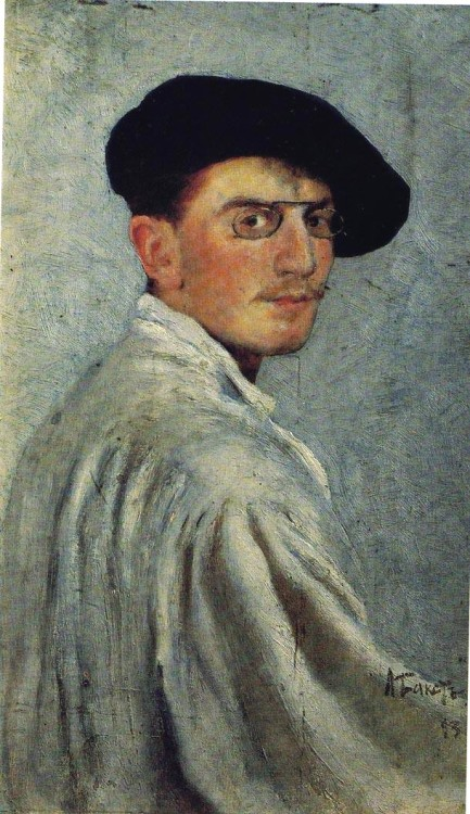 Bakst's Self-portrait, 1893, oil on cardboard, 34 x 21 cm., The State Russian Museum, St. Petersburg, Russia  Léon Samoilovitch Bakst (Russian: Лео́н Никола́евич Бакст) (10 May 1866 – 28 December 1924) was a Russian painter and scene- and costume designer. Born as Lev (Leib) Samoilovich Rosenberg (Лев Самойлович Розенберг). Leon was born in Grodno (currently Belarus) in a middle-class Jewish family. After graduating from gymnasium, he studied at the St. Petersburg Academy of Arts as a noncredit student, working part-time as a book illustrator. He was expelled from the Academy after depicting figures in the Pietà as impoverished Jews. Beginning in 1909, Bakst worked mostly as a stage-designer, designing sets for Greek tragedies, and, in 1908, he made a name for himself as a scene-painter for Diaghilev with the Ballets Russes. During this time, he lived in western Europe because, as a Jew, he did not have the right to live permanently outside the Pale of Settlement. During his visits to Saint Petersburg he taught in Zvantseva's school, where one of his students was Marc Chagall (1908–1910). (via Wikipedia & Yiddishkayt)