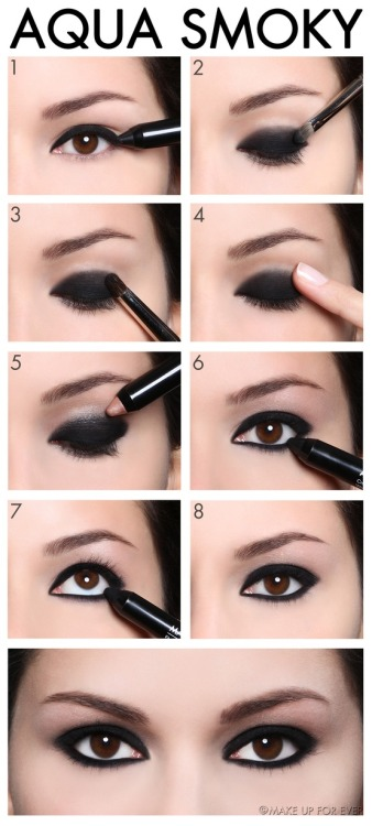 4 Steps to a Smoky Eye  Step 1Apply a tick line of Aqua Shadow 0E pencil along the upper lash line and on the water line for maximum intensity. Option A: Blend quickly upward using the fingertip in the crease of the eyelids, using forward and backward sweeping movements from the outer corner to the inner corner. Make sure to finish before the texture is dry. Option B: For more precise result, used Brush 14S. Step 3Apply a line of Aqua Shadow 30E juxtaposed with Aqua Shadow 0E and blend the colors together using Brush 14S. Apply Aqua Shadow 30E to the brow bone for a highlight effect.Tip: To intensity make up, apply Eye Shadows or Start Powders to the shadow. Step 4 Apply Aqua Shadow 0E to the water line to add depth to the eyes. Draw a line along the lower lashes, blend downward using Brush 25.
