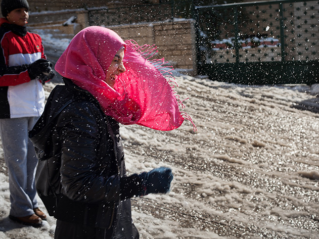 "A Snowball Fight in the West Bank  Snow is unusual in the West Bank and they lack the infrastructure to handle it, so when it came, the city just stopped, and as if in unison, sunk into the playful nature of a small child. No one was immune. Streets became a community where a smile really meant ""Can I play with you?"" and a ""Yes, please"" was returned with a snowball to the head. - Continue reading at Smithsonian.com MORE PHOTOS » Photos by Caroline Lacey"