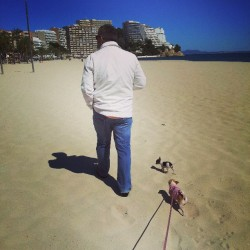 Walking on Magaluf beach with Semla and Chavez. (på/i Platja de Magaluf)
