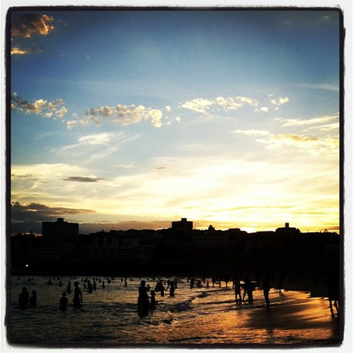 106F/41C all day = beach still packed at 8:30pm Bondi Beach Sunset, Sydney Australia www.fearmanphoto.com