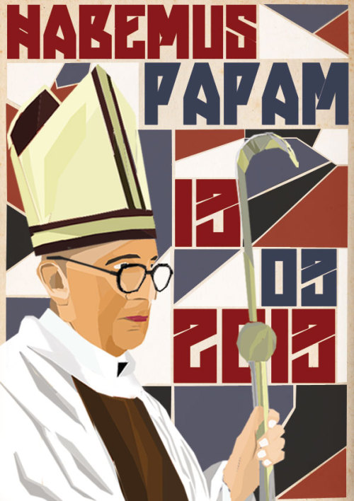 """HABEMUS PAPAM. A new pope has been revealed"" Digital Painting class. Third assignment. Second semester. 2013"