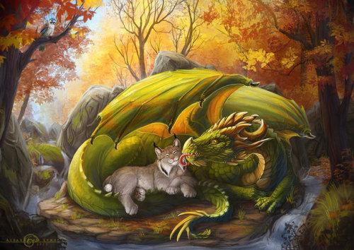 dragon green dragon forest spirit forest dragon cat kitty cat and dragon lynx little lynx cute Lynx dragon and Lynx fantasy art