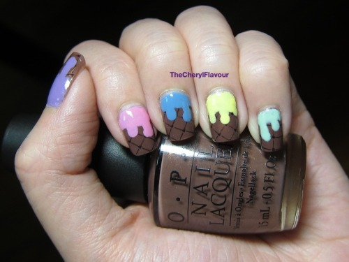 Dripping Ice Cream! See full post here! Polishes Used: OPI Wooden Shoe Like To Know? OPI Gargantuan Green Grape China Glaze Lemon Fizz China Glaze Electric Beat China Glaze Dance Baby OPI Do You Liliac It?