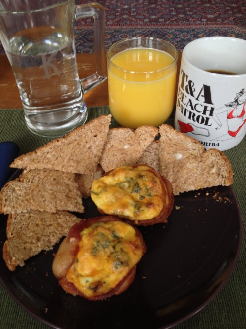 Party's Pinterest Weekend Breakfast of Bacon N' Egg Cups with Kale, Squash, Peppers, and Onion. Toast Points help round out the meal. Coffee, OJ, H2O.