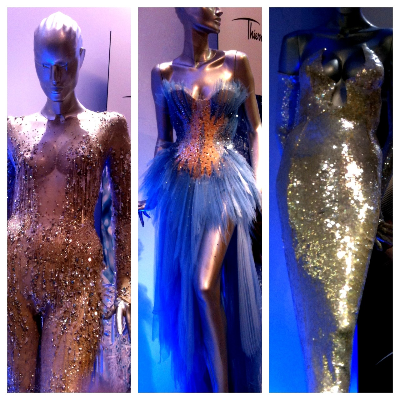 Thierry Mugler outfits used in the Angel Parfum campaigns over the years.  Left: Ice crystal bodysuit from the S/S 1998 Haute Couture collection worn by Amy Wesson for the 1998 campaign. Center: Custom made corset with tulle skirt worn by Naomi Watts for the 2008 campaign. Right: White embellished evening gown from the S/S 1994 Haute Couture collection worn by Jerry Hall for the 1995 campaign.