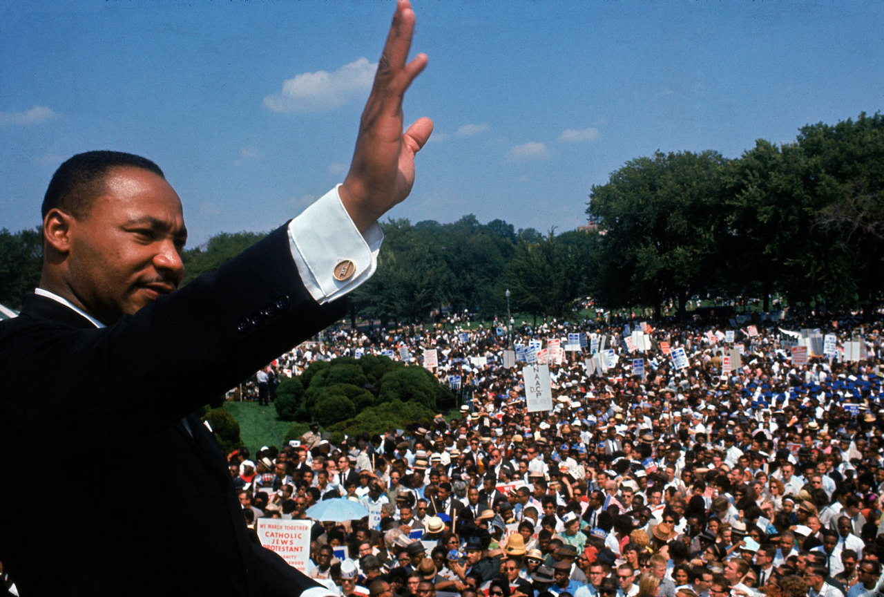life:  On MLK Day, five decades after the March on Washington, LIFE.com presents pictures — many of which never ran in LIFE magazine — celebrating the people who transformed a rally into an era-defining event. *** Were you, or was someone you know, at the March on Washington in 1963? If you have any photos from the event that you'd like to offer for possible inclusion in a special online gallery about the landmark event, please send lo-res JPEGs here, or contact us for details on how to contribute.  Not originally published in LIFE, but printed elsewhere in the years since. Martin Luther King Jr. addresses the crowd during the March on Washington for Jobs and Freedom, August 28, 1963.