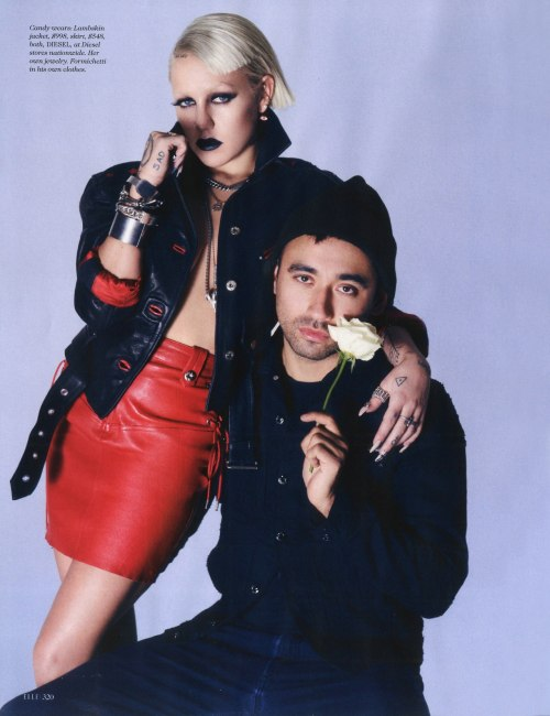 Nicola Formichetti + Brooke Candy for the May 2014 issue of Elle Magazine.