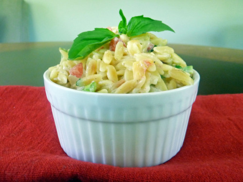 foodopia:  Garlic and Parmesan Orzo with Fresh Veggies and Basil