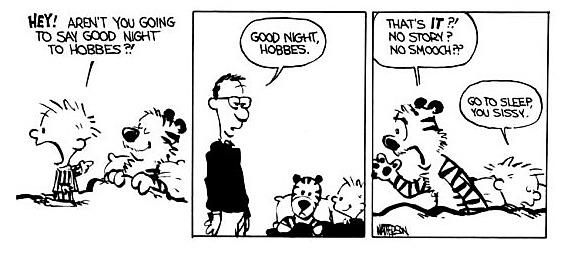 Sleep requires a story & a smooch Calvin and Hobbes
