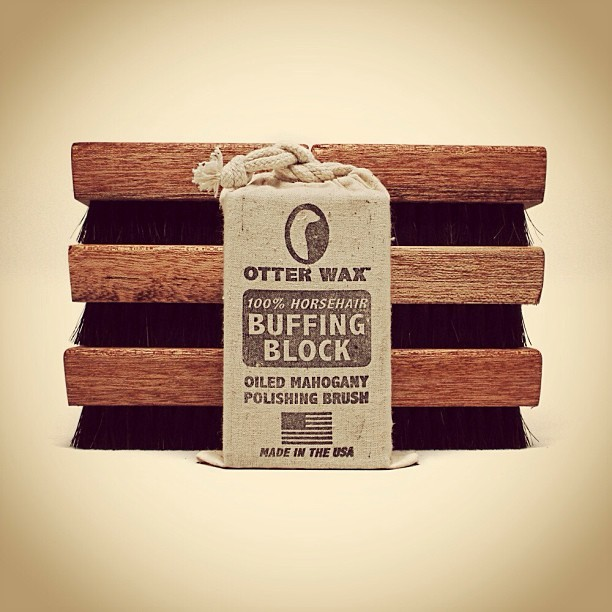 100% Horsehair Buffing Blocks are in stock! Oiled mahogany polishing brushes for all your leathers. Made right here in Portland. #otterwax