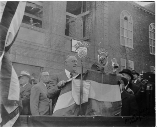 President FDR laying the cornerstone of the gymnasium, now known as Roosevelt Hall, in 1936.