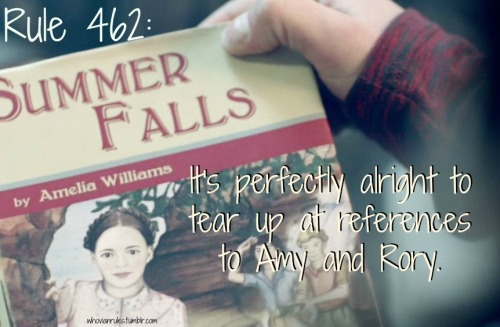 "Rule 462: It's perfectly alright to tear up at references to Amy and Rory. [Image cap from ""The Bells of St. John""]"