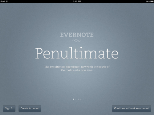 "For all the iPad productivity junkies out there, the newest Penultimate update should surely get your attention. They didn't change too much about how the app works, which is very common when larger companies acquire small apps like this. But it does host a new color scheme that's pretty easy on the eyes. Also, Penultimate is now available as a FREE download from the iOS App Store. I think I remember paying about $5 for it about two years ago. Now you can download Penultimate as an experiment! Mine focused on eliminating paper all together while taking notes and jotting down phone messages. It's worked like a DREAM, and I'll never have Post-Its on my desk again! Give it a try and you might be surprised at how natural it feels writing on your iPad screen. Styluses are also pretty cheap these days, so finding one for $10 is certainly possible. Although, if you fall in love with digital note-taking, Belkin, Targus, and my personal favorite, Bamboo, make pretty sexy styluses to match almost all writing types. Also, Bamboo's ""Bamboo Stylus duo"" can double as an ink pen, for those unavoidable times when you need to sign something, like the check at dinner. Have fun with this! It might really change the way you do things! It sure did for me!"