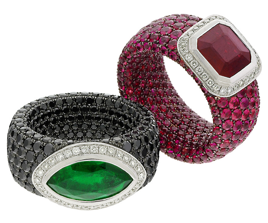 Emerald and Ruby Rings - Avakian
