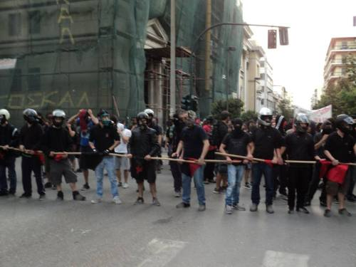 antifascistaction:  Protesters block the gathering of neonazis in Patra, Greece