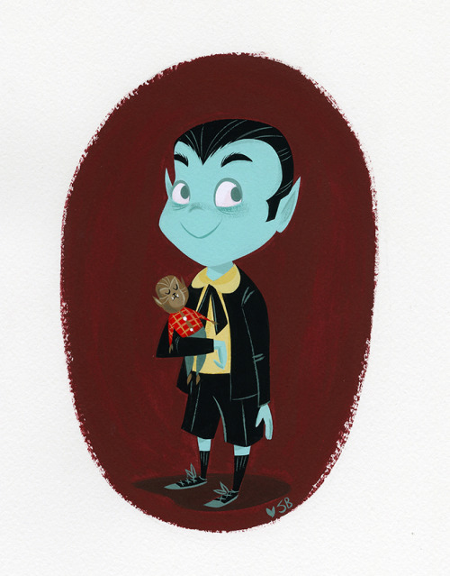 A quick little Eddie Munster painting from today, gouache on watercolor paper.