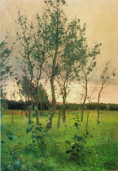 allesandersen:  Alois Kalvoda (1875 - 1934): Skupina olší / A Group of Alders. Oil, 1897.