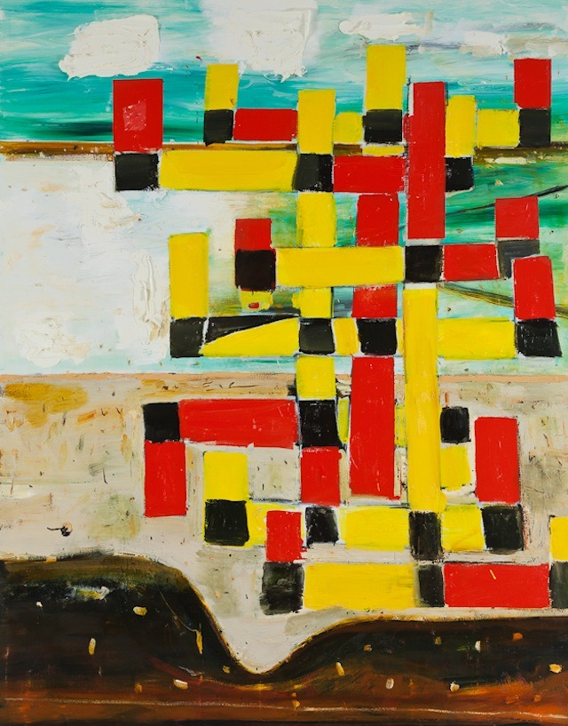 "hyperallergic:  Beer with a Painter: John WalkerJohn Walker, ""Red Yellow Coastal Cross North Branch"" (2011), oil on canvas, 84 x 66 inches (all…View Post"