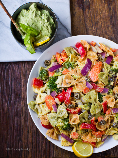Pasta Primavera with Lemon, Pepper and Tahini Dressing and Avocado Pesto