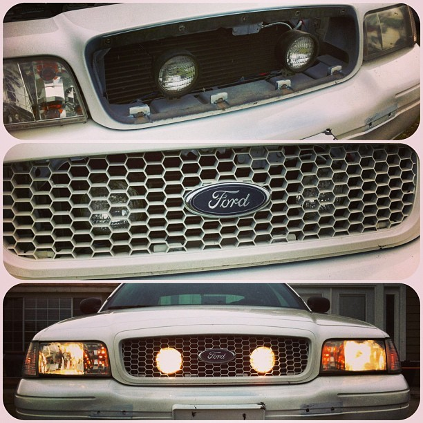 Installed some hidden lights on my car. #epic #ford #crownvic #p71 #interceptor