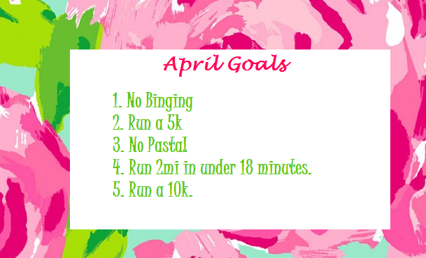 Edited: May 5, 2013 I did a pretty good job not binging this month. I think I only overate like one day and that was due to stress from finals and my crazy emotions. I ran a 5k! I only had pasta once and that was when I went out to eat with my friend to The Village Cafe. Didn't run two miles in under 18 minutes. I really messed up my knee when I played dodge ball and haven't ran since then. I didn't run a 10k. School has taken over so much of my time lately that I've been working out at the gym instead of going for runs and my knee is currently having some difficulties.