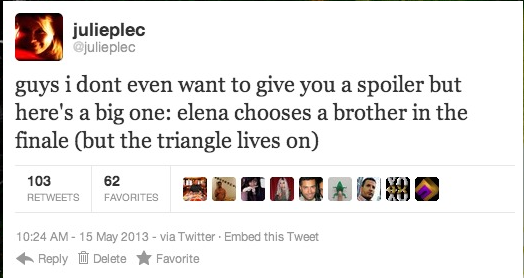 kcismyreligion:  verajomoholic:  derpklaus:  Elena chooses a brother but the triangle lives on? lol Sounds like EVERY SEASON FINALE EVER.  Excuse me but… WHO CARES ANYMORE?   WHO FUCKING CARES?  That happens in EVERY finale…..