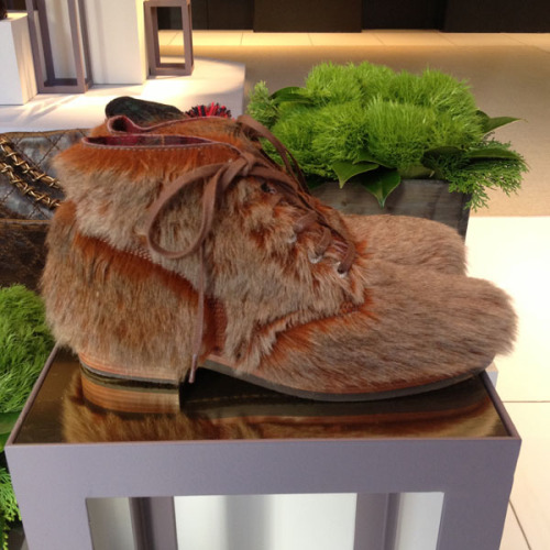 Kangaroo fur boots at the Chanel Metiers d'Art preview. Photographed by Julia Rubin.
