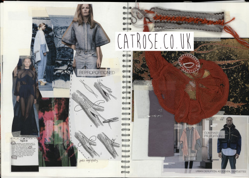 Final collection sketchbook page of collated inspiration and development