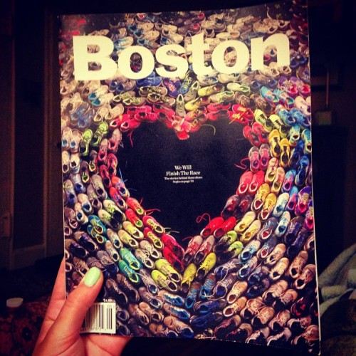 I finally found a copy to read. #boston #bostonstrong #magazine #shoes