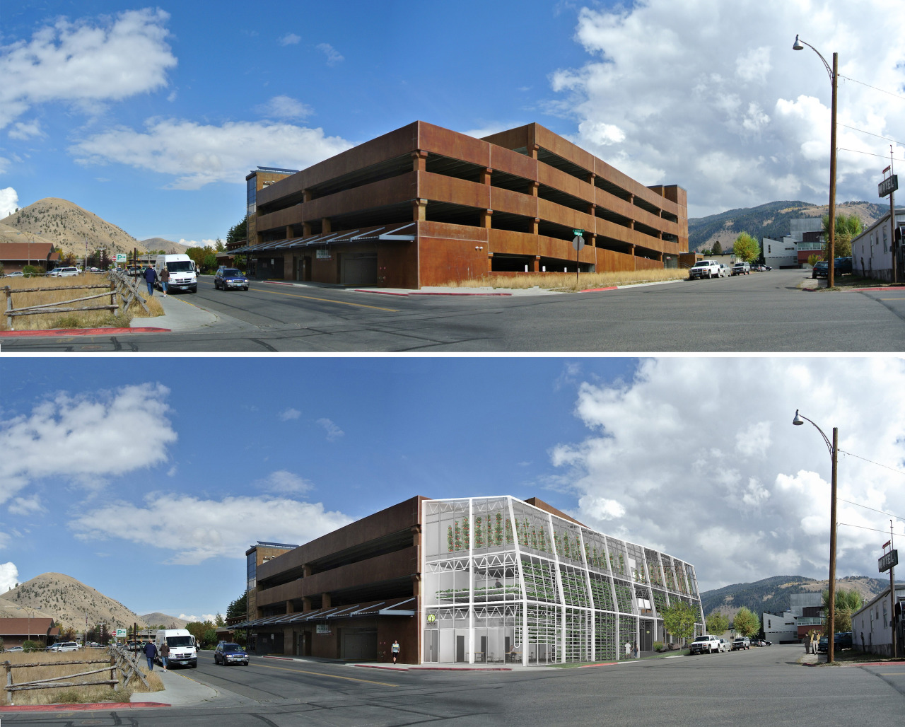 Before and after. A three-story vertical farm designed as urban infill, Vertical Harvest will prove a model for similar urban agriculture projects throughout the world. This project combines an innovative hydroponic system with a carousel that moves plants from artificial to natural light, cutting down on energy costs.