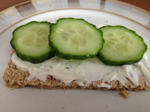 Best snack ever! Rivita, low fat cream cheese w. garlic and herbs, and cucumber :)
