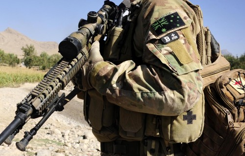 An Australian soldier on patrol in Afghanistan.