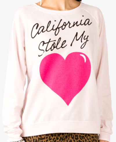 wantering:  Forever 21 Cali Stole My Heart Pullover  I'll take two, please!