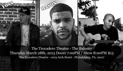 RAP SHOW TONIGHT!rocking with the homie Wax and my buddy Mason @ the Trocadero in Philly, gonna be insane.I opened for Wax back in 2011 when he came to town and it was one of the most fun shows I ever played. let's make this one even better.NOT MANY TICKETS LEFT. The Trocadero told me themselves, so cop up either online here: http://www.ticketfly.com/event/215133 or show up to the Troc box office early to secure your tix!Let's GOOOOOOOOOOO