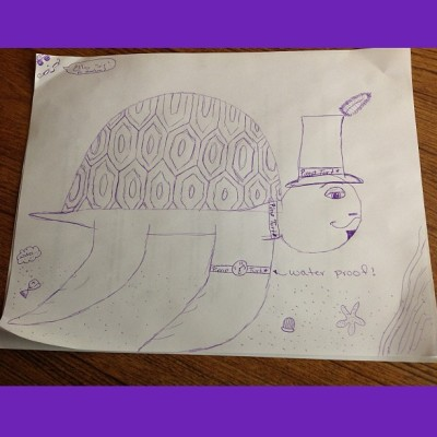 #squaready we got #bored so i #drew a #pimp #turtle xD thats #purple lmao