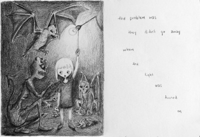 "hitrecord:  ""Childhood"" Tiny Story by Absconditus == MattConley (Community Director) writes: Nice Tiny Story! Very well illustrated and the theme of the ""light on"" is something most of us can relate to. It would be great to see more stories written for this illustration as well, or alternate illustrations for the story. The more the merrier!  == You can contribute your Tiny Stories HERE!"