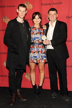 ohne-dich:  Matt Smith, Jenna-Louise Coleman and Steven Moffat attend 72nd Annual George Foster Peabody Awards (May 20, 2013)