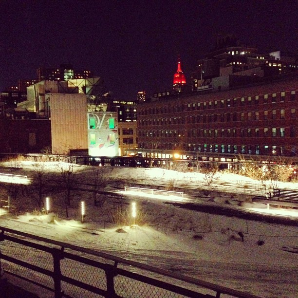 A snow covered High Line as seen from The Standard #nyfw #attheshows  (at The Standard - High Line)
